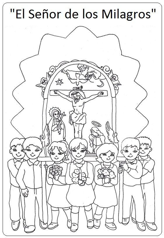 Señor de los Milagros - paginas para pintar Coloring pages | fe ...