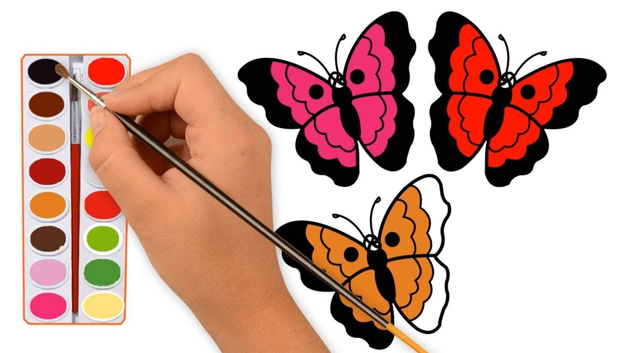 Butterfly Coloring Pages Learn Colors Butterfly Drawing For Kids Butterfly Drawing Butterfly Coloring Page Learning Colors