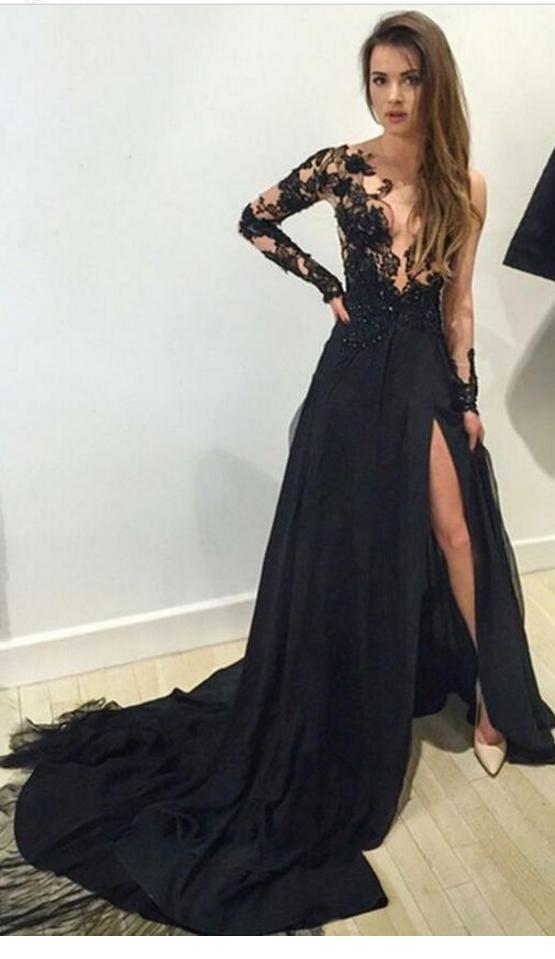 Long sleeve Prom Dress, lace Prom Dress, Black #prom #promdress ...