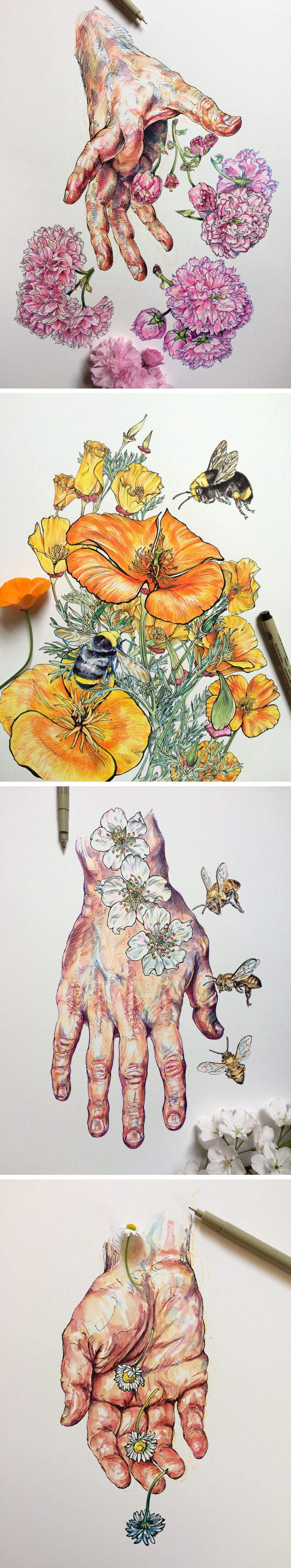 Colorful Studies of an Artist's Hands Layered With Flowers and Bees