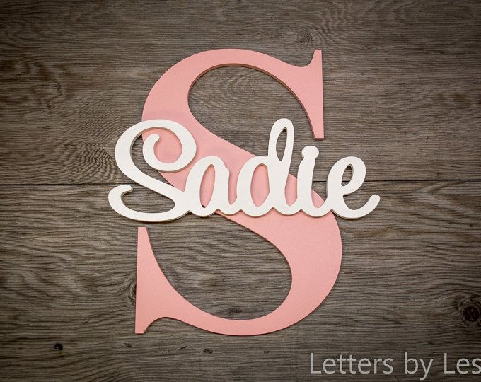 Nursery Name Sign Capital Letter Baby Plaque Personalized Wall Hanging Wooden Art