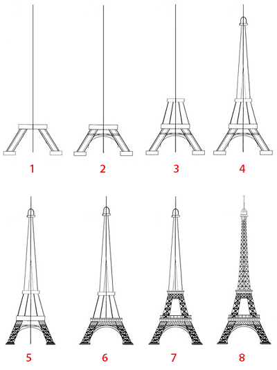dessin tour eiffel tape par tape illustratie. Black Bedroom Furniture Sets. Home Design Ideas
