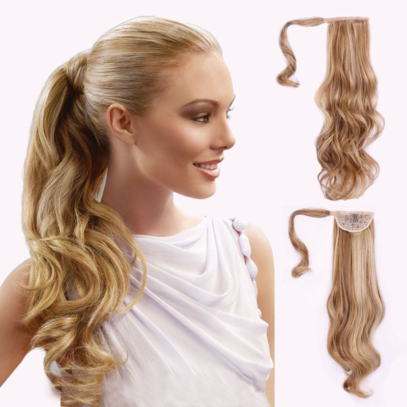 120g Curly Synthetic Hair Clip In Wrap Around Haie Ponytails Pad