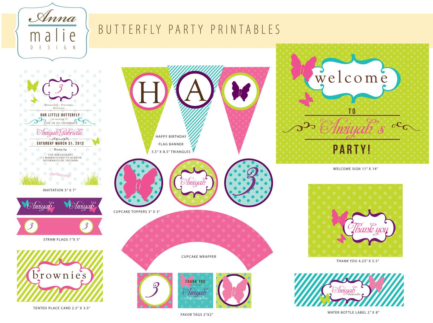 Butterfly Birthday Party - PRINTABLE ONLY - invitation, banner, tags ...