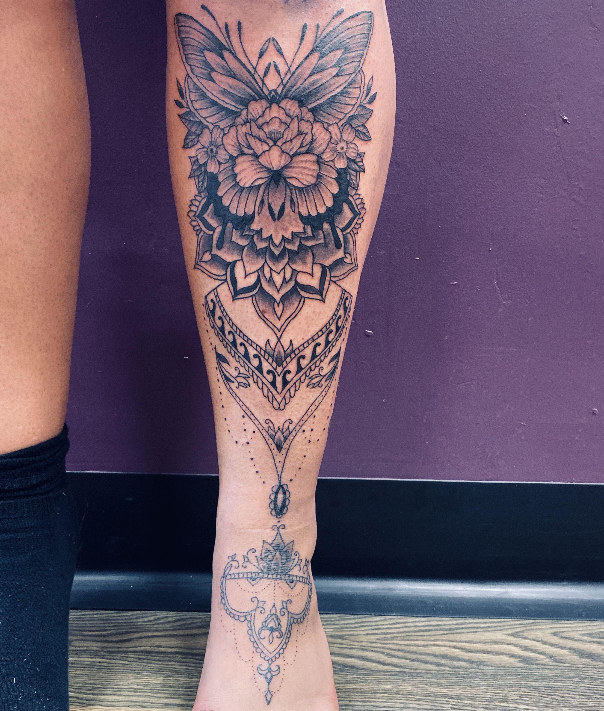 Mandala Henna Bein Tattoo - Leg tattoos - Mandala Henna Bein Tattoo – Leg tattoos