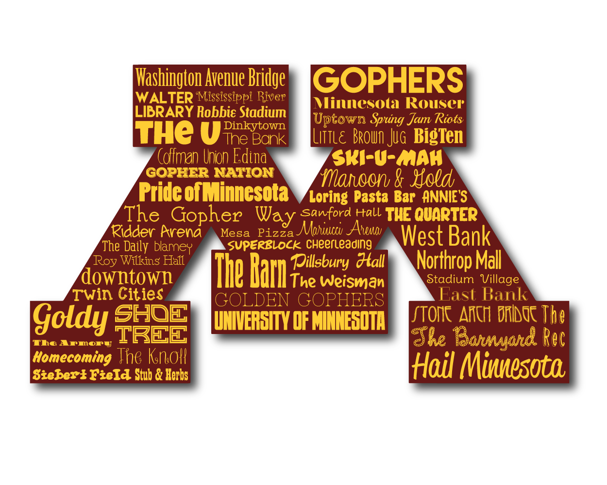 Original Artwork Using Words To Describe University Of Minnesota Show Off Your Golden Gopher S P University Of Minnesota Minnesota Gophers Minnesota Gifts