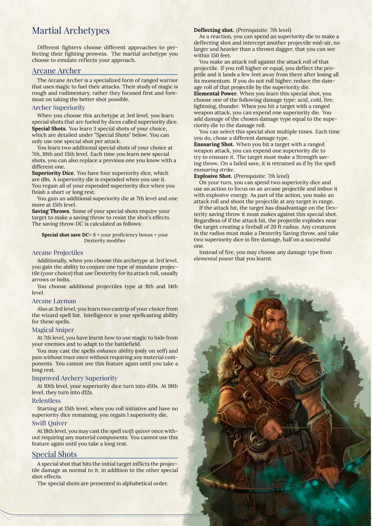 DnD 5e Homebrew  Arcane Archer Fighter by MarcSharma  D