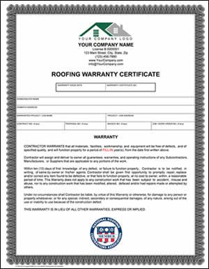 Roofing Warranty Certificate  Quality Construction  Roofing