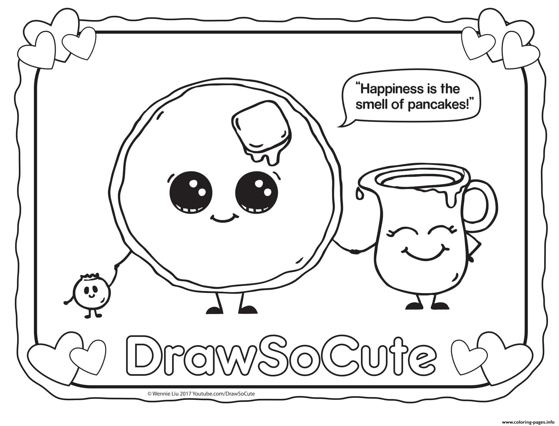 Coloring Pancake Draw So Cute Printabl with Colouring Pages For