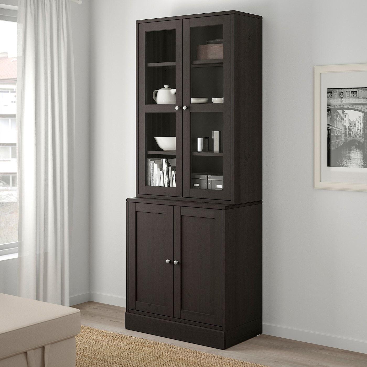 HAVSTA Storage combination w/glass doors, dark brown31 7/8×1…