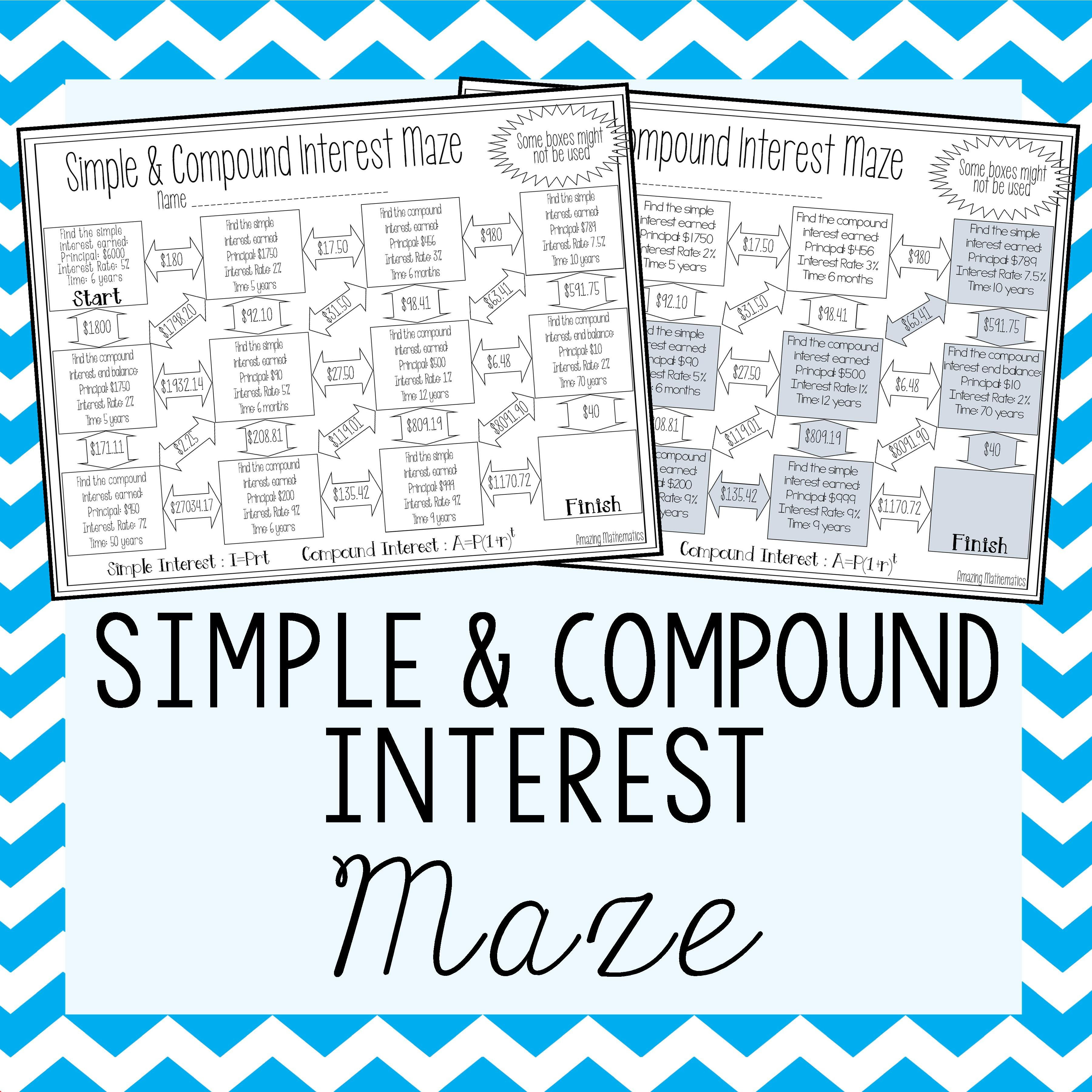 Worksheets Calculating Compound Interest Worksheet simple compound interest maze these mazes would be such a fun activity for my 8th grade math students to practice their calculating inter