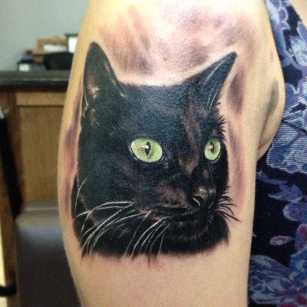 Cat Portrait Tattoo By Eris09 Deviantart Com On Deviantart Black Cat Tattoos Cat Portrait Tattoos Cat Eye Tattoos