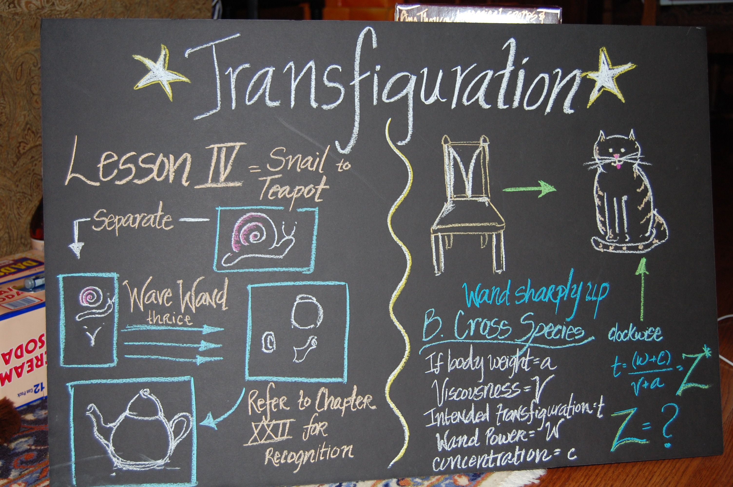 Transfiguration Chalkboard | Harry Potter Party ...
