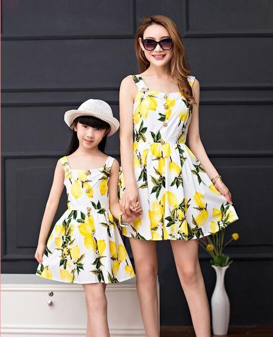 0daa76cc6 2016 Mother Daughter Matching Dress Women Summer Dress Lemon Print ...