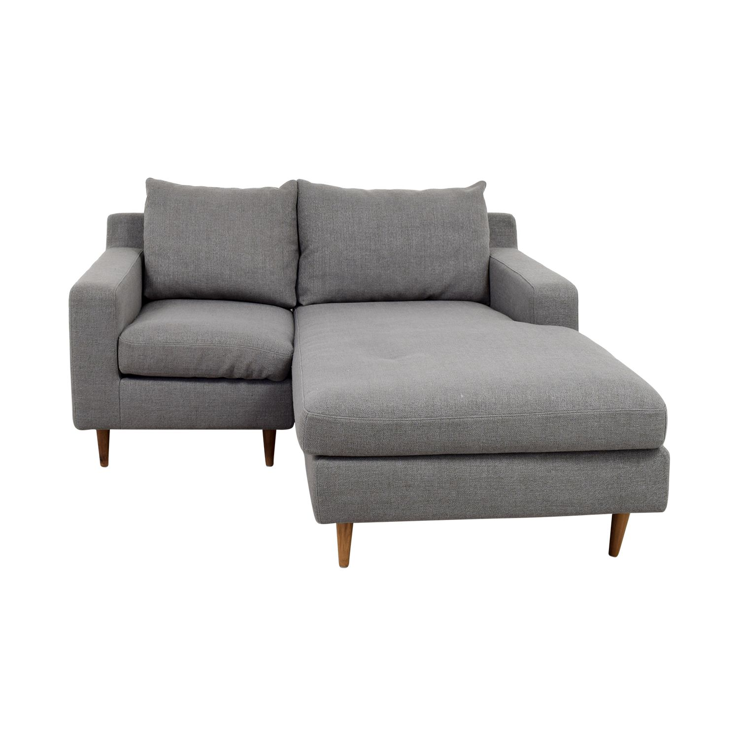 Interior Define Custom Grey Loveseat With Chaise Chaise