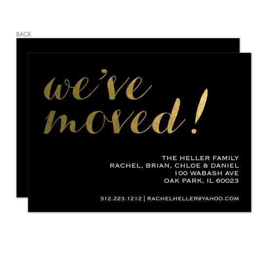 Black Weve Moved Foil Stamped Moving Announcements