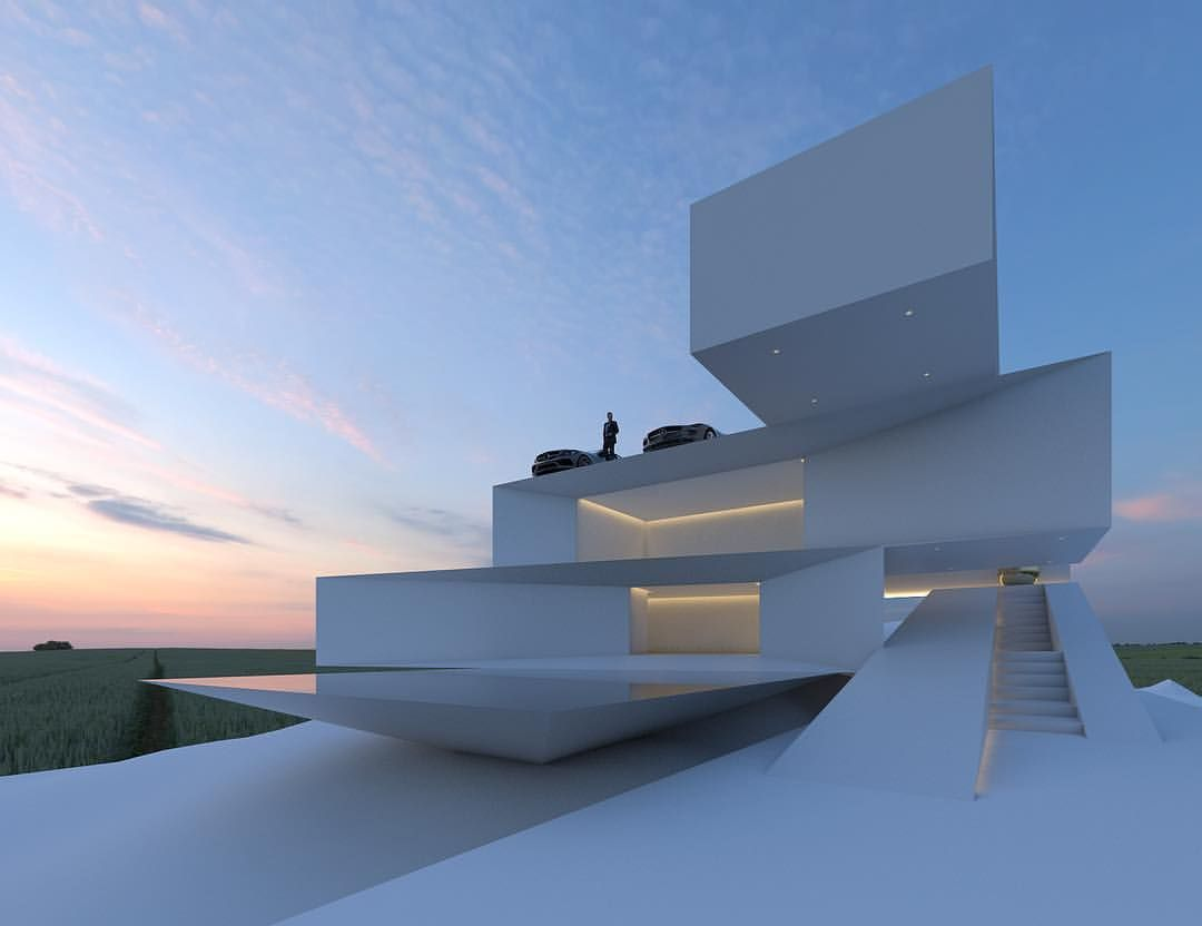 Hyper modern house rendering arq pinterest 4 y 3 Diseno interior futurista