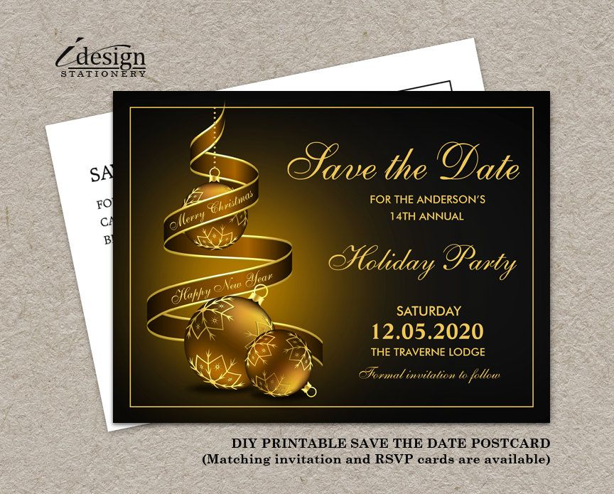 Holiday Party Save The Date Cards By Idesignstationery On Etsy