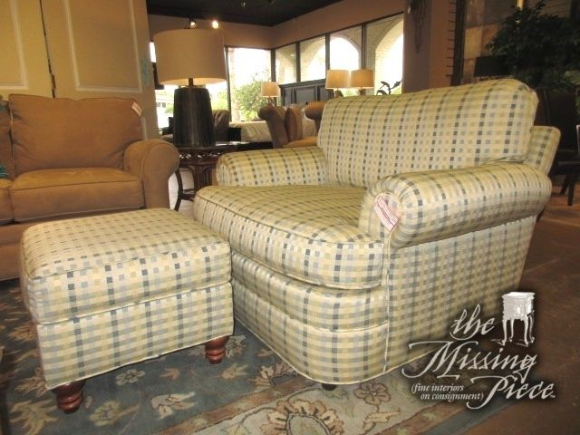 Best Norwalk Chair And A Half In A Cream And Blue Plaid 400 x 300