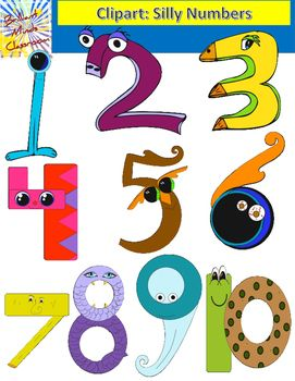 Colorful Silly Numbers Clipart Graphics 1 10 Clip Art Silly Color