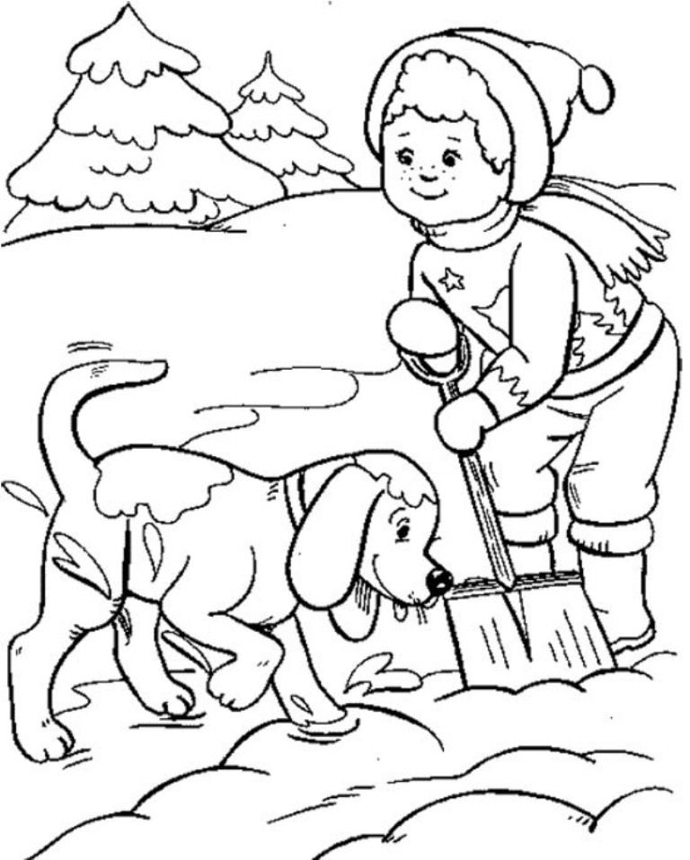 Download Boy And Dog Playing Snow Winter Coloring Pages For Kids Coloring Pages Coloring Pages For Kids Free Coloring Pages