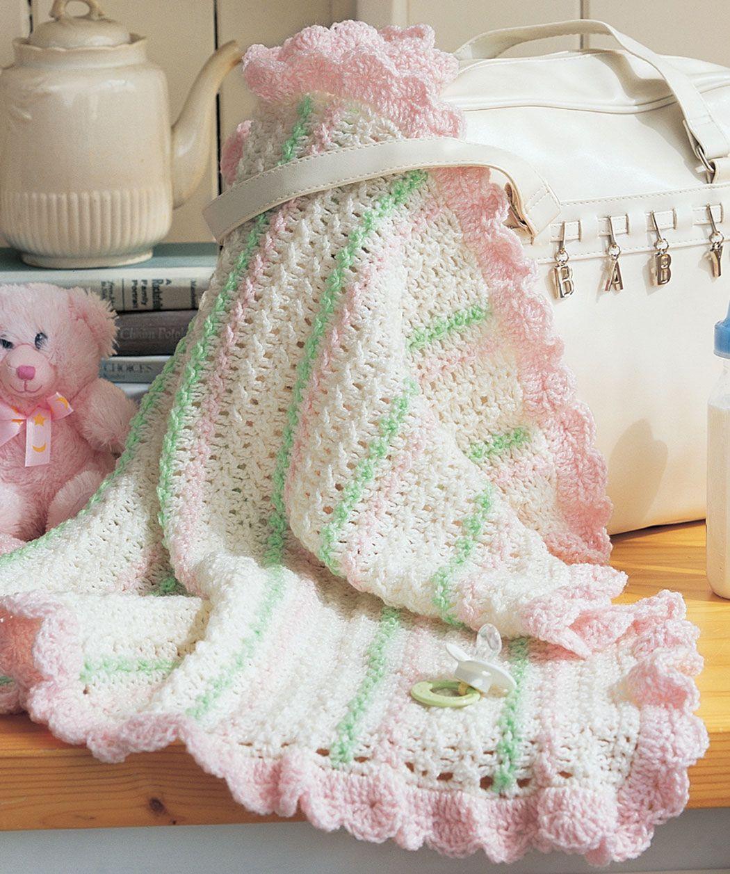 Crochet Stroller Blanket - free crochet pattern on Red Heart ...