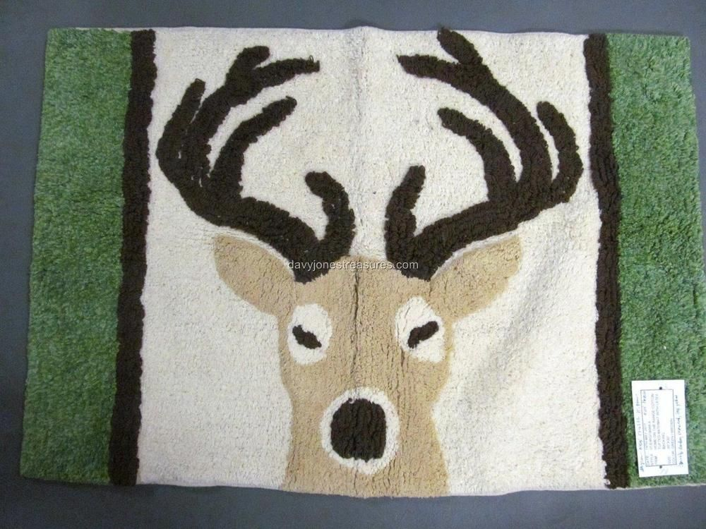 Christmas Bath Mat Reindeer Holiday Kitchen Rug