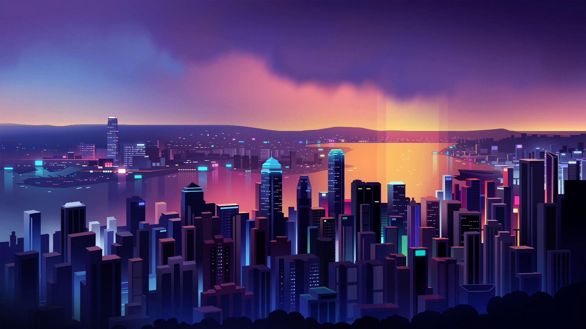 Neon Hong Kong Skyline By Romain Trystram 1920x1080 Music Indieartist Chicago Cityscape Skyline Night Illustration