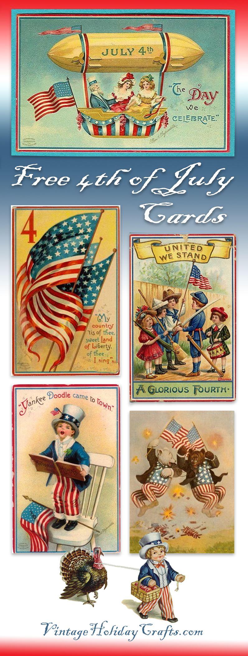 Free Printable Vintage 4th Of July Cards Vintage Postcards 4th Of July Printable Postcards 4th of july cards printable