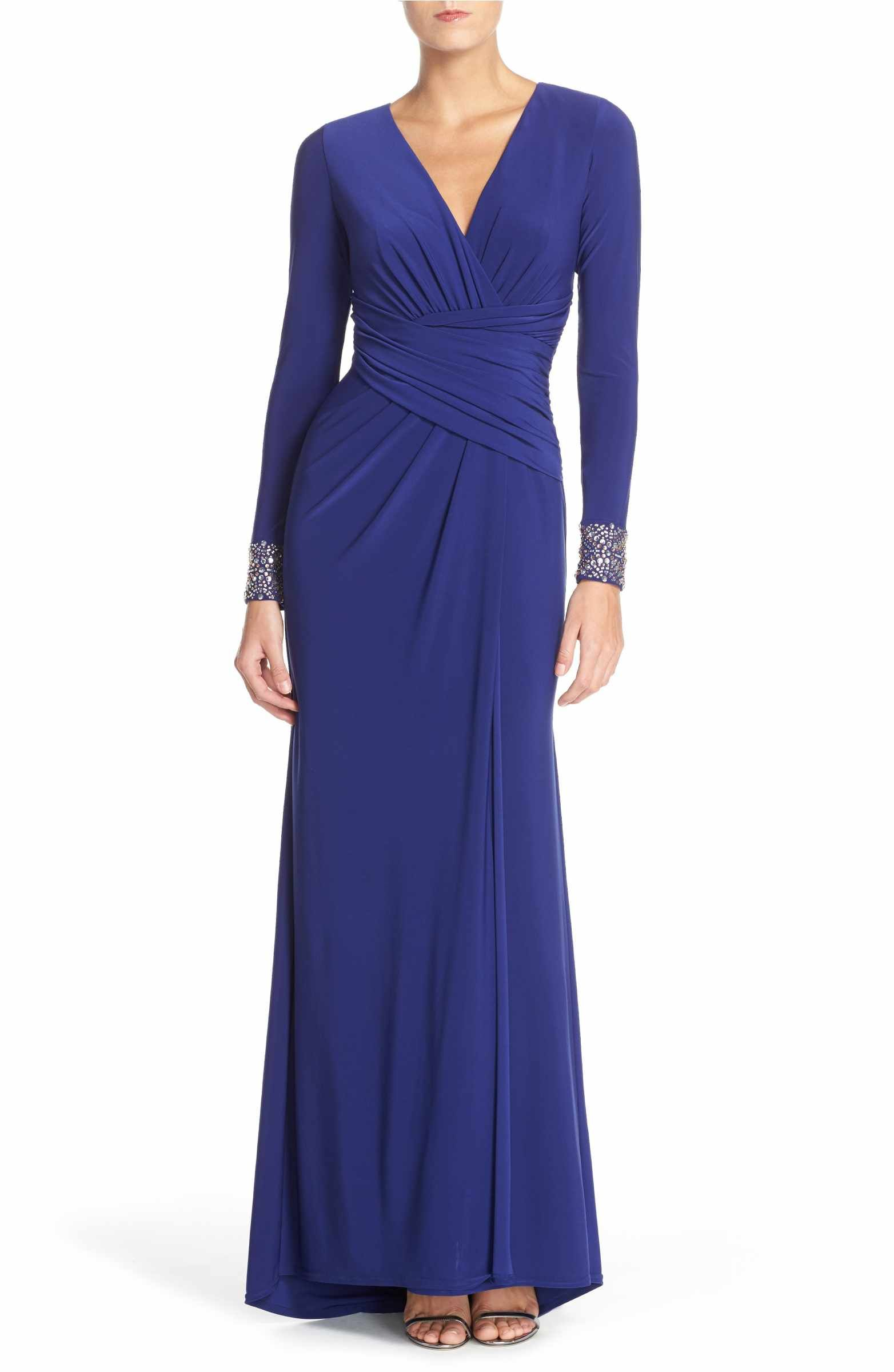 Mother of the groom dresses for outdoor wedding  Main Image  Vince Camuto Embellished Sleeve Jersey Gown  burgendy