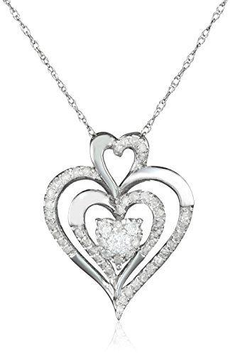 On sale now at httpjewelrydealsnowab00h6adjyq 10k white white gold heart diamond pendant necklace cttw i j color clari aloadofball Choice Image