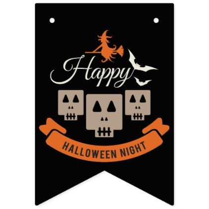 #Happy Halloween Night Skulls Bunting Flags - #Halloween #happyhalloween #festival #party #holiday