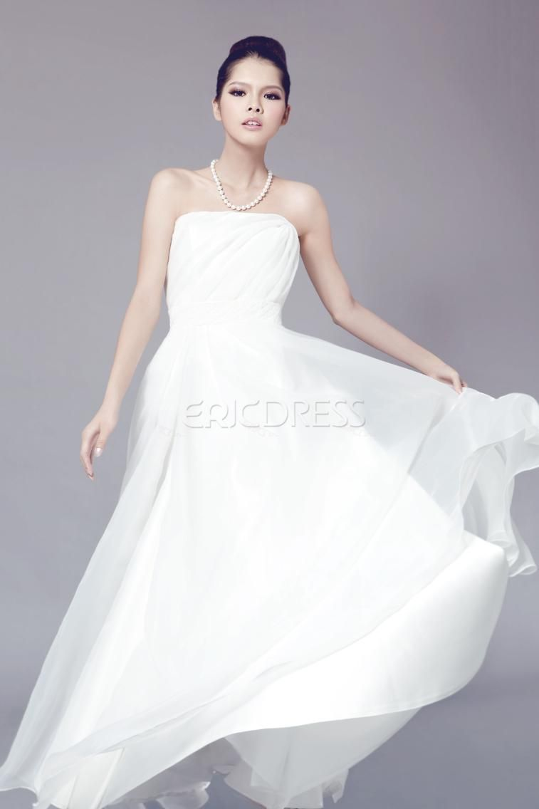Wedding simple strapless empire floor length wedding dress wedding