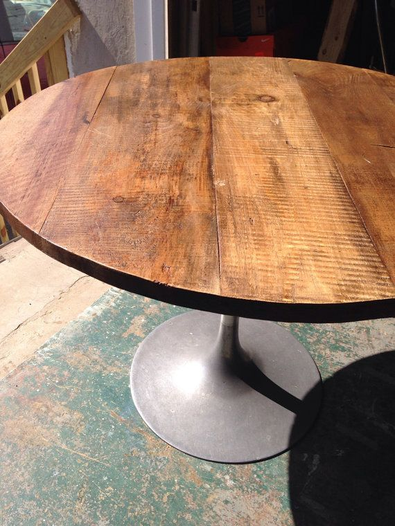 Round Rustic Modern Wood Dining Table Top 1 By Freshrestorations