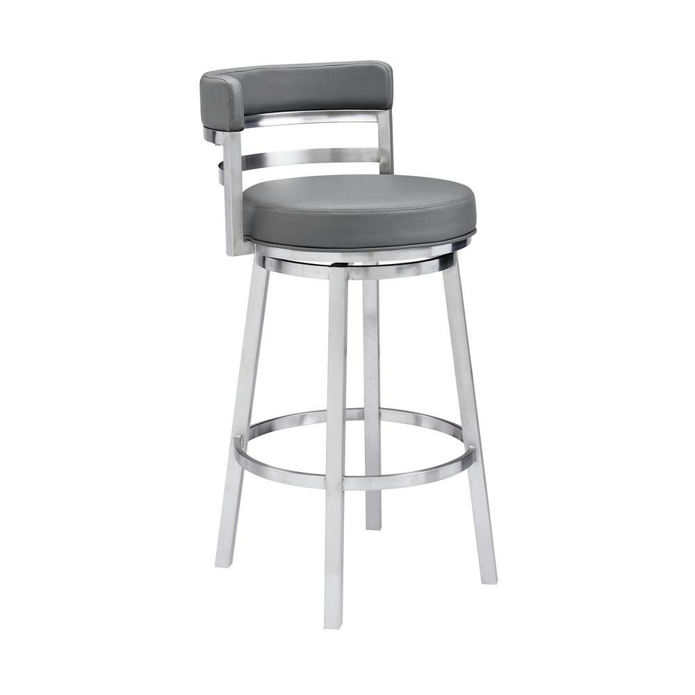 Armen Living Rayner Contemporary 26 In Counter Height In Brushed Stainless Steel Finish And Grey Faux Leather Bar Stool 721535738199 The Home Depot Leather Bar Stools Bar Stools 30 Inch Bar Stools Armen living bar stools