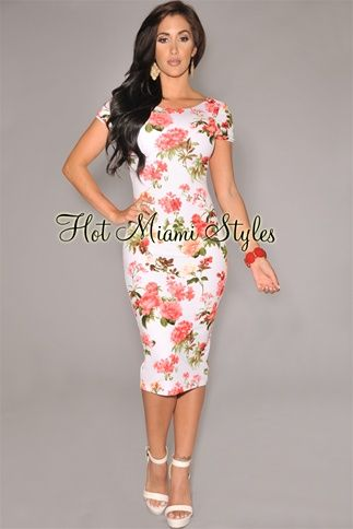 7ec005535ed White Coral Floral Print Textured Midi Dress Womens clothing clothes hot  miami styles hotmiamistyles hotmiamistyles.com sexy club wear evening  clubwear ...