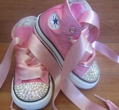 0c0c44e5813c4d Rhinestone studded pink converse - baby girl