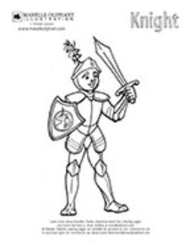 Free Coloring Page Sheet Print Out Of A Medieval Knight Fantasy Fairy Tales
