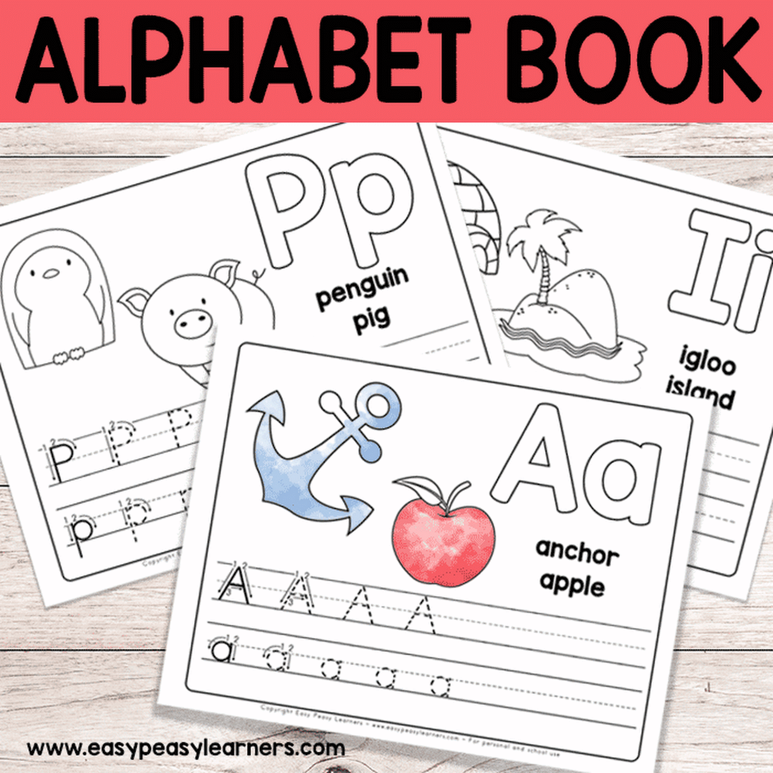 Free Printable Alphabet Book - Alphabet Worksheets for Pre ...