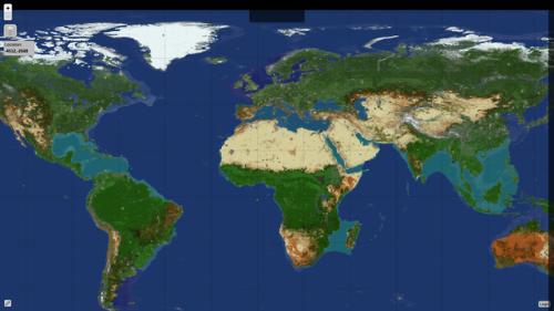 Map of EarthMC a Towny minecraft server shaped like the