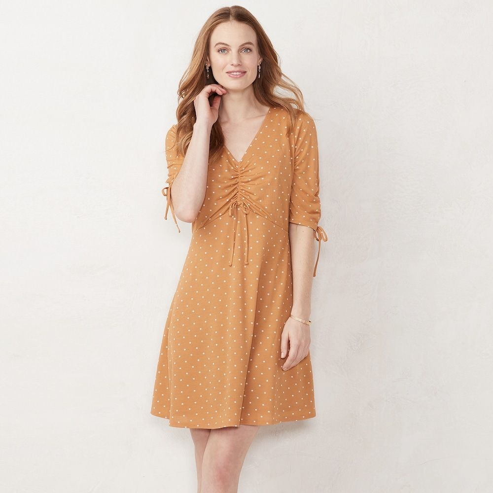 Petites Lc Lauren Conrad Print Ruched Fit Amp Flare Dress In