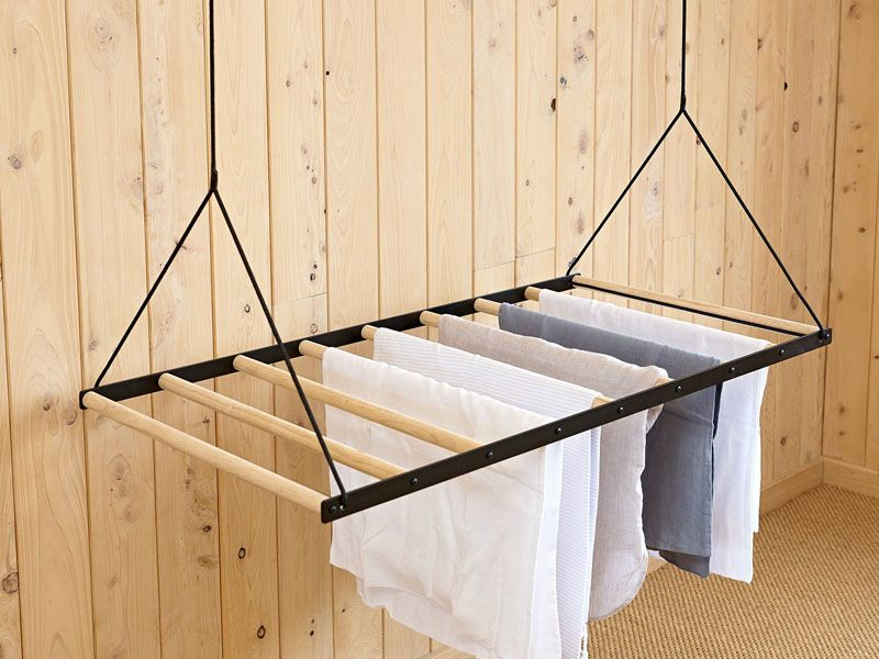 This Hanging Clothes Drying Rack Can Be Raised And Lowered Using A