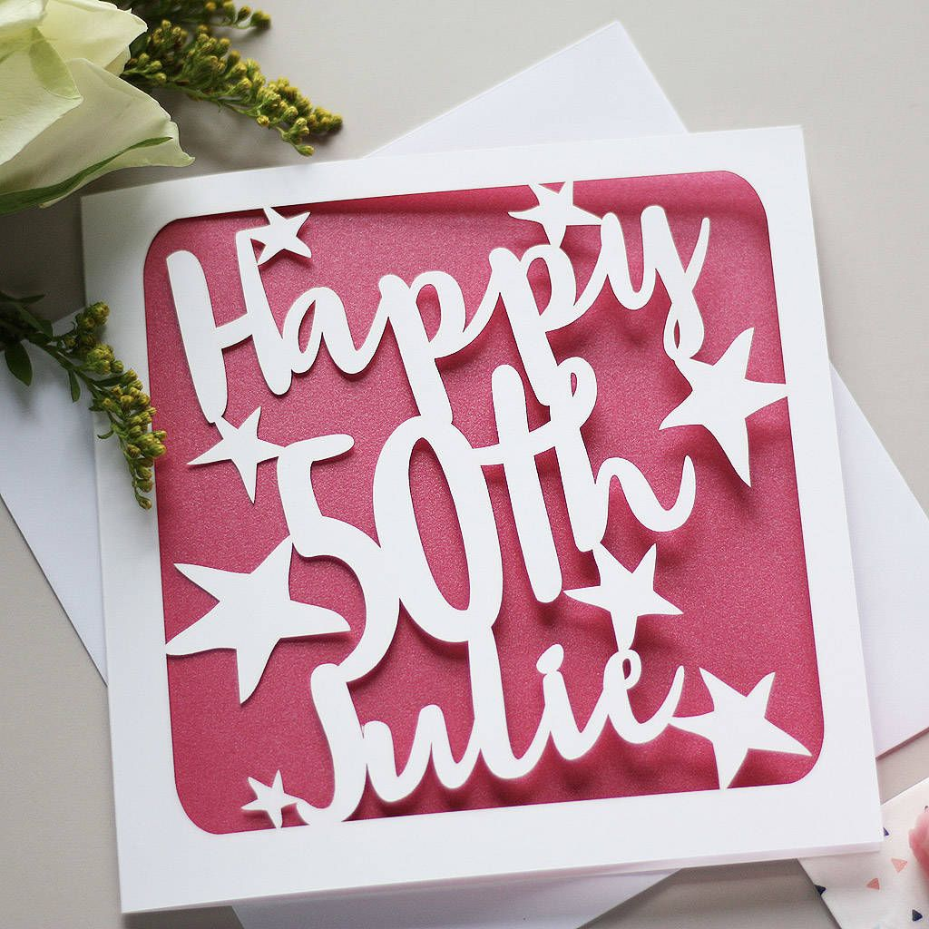 Personalised 50th Birthday Card In 2021 50th Birthday Cards For Women 50th Birthday Cards Cricut Birthday Cards