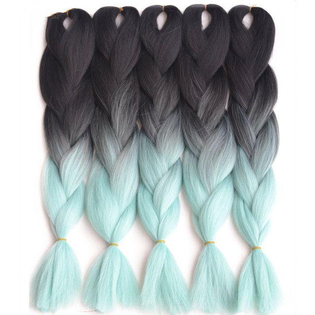 Feilimei Ombre Braiding Hair 60cm 100g Synthetic Jumbo Braids Black