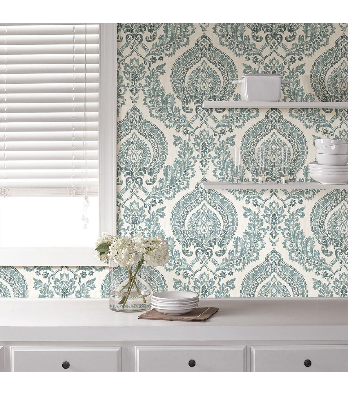 Wallpops Nuwallpaper Navy Kensington Damask Peel Stick Wallpaper Online Only Product Peel And Stick Wallpaper Nuwallpaper Simple Bathroom Decor