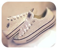 Women's white or Ivory sparkly glitter Converse  4 BRIDE WEDDING   $10 Off with code PINNED10  CrystalCleatss