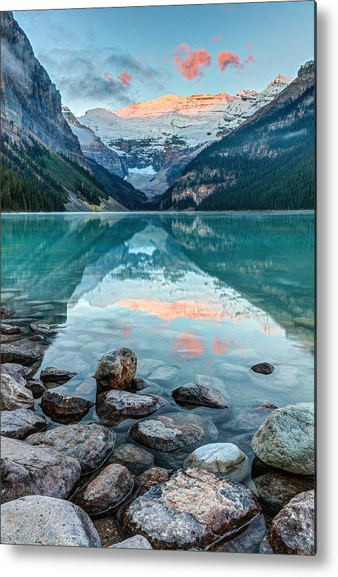 Dawn at Lake Louise Metal Print