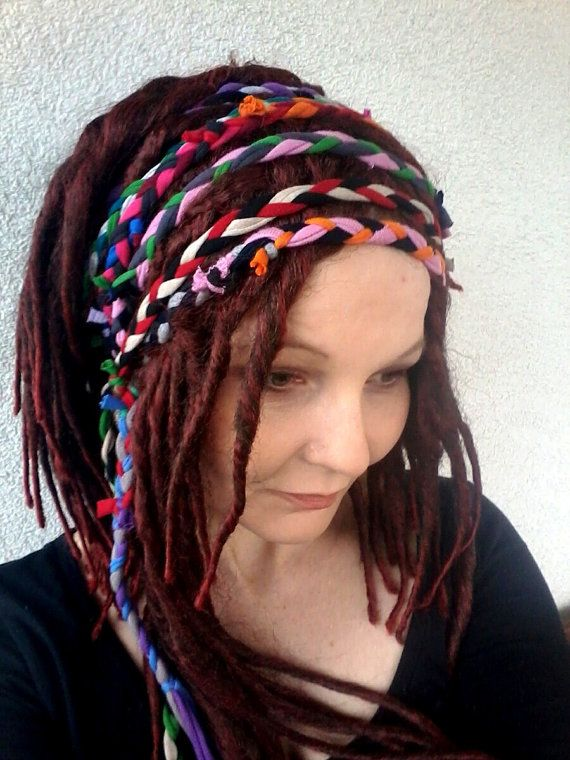 Dreadlocks Headband   Boho Chic Head Wrap   Gypsy Headband   Multicolour  Headband   Dreadband   Brai 82fb8150ad5