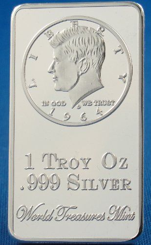 1 Troy Ounce 999 Silver Bullion Clad Ingot John F Kennedy Half Dollar 1964 Bar World Treasures Mint S Top 1 Coin Design Silver Bullion Kennedy Half Dollar