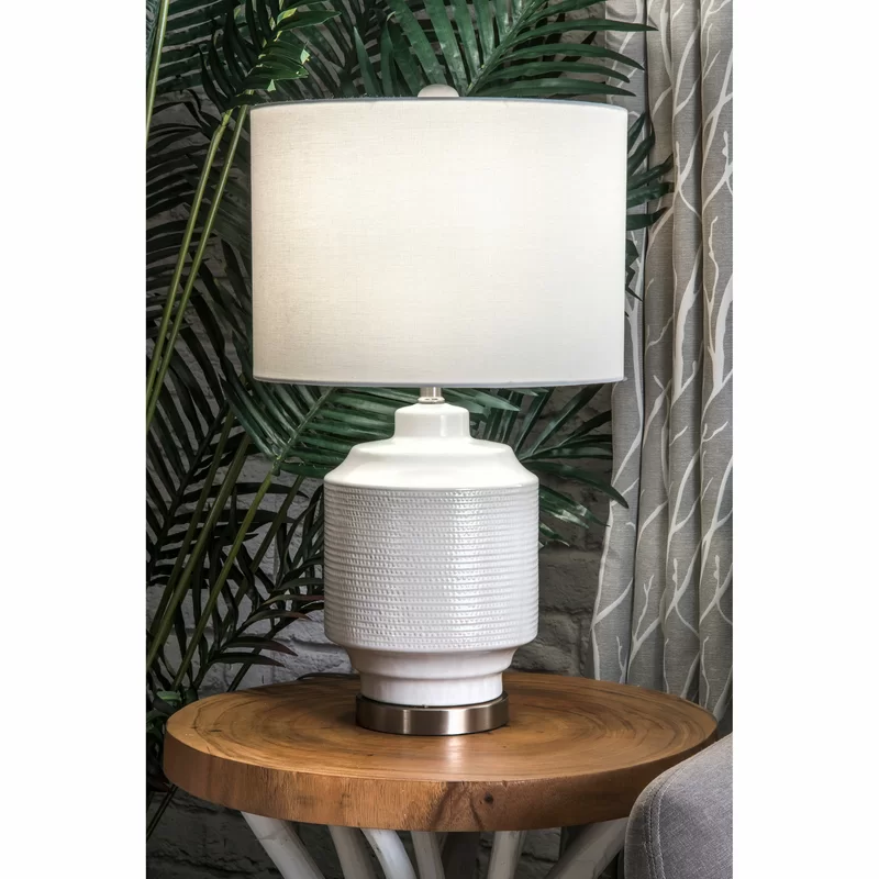 Kunze Ceramic And Metal Linen Shade 24 Table Lamp In 2020 Metal Table Lamps Ceramic Table Lamps Stylish Table Lamps